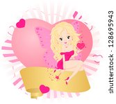 greeting card with a fairy in a ... | Shutterstock . vector #128695943