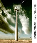 close up wind turbine.renewable energy source - stock photo
