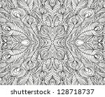 Peacock Pattern Black And Whit...