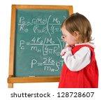 one little girl is writing... | Shutterstock . vector #128728607