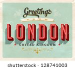 Vintage Touristic Greeting Card - London, UK - Vector EPS10. Grunge effects can be easily removed for a brand new, clean sign. - stock vector