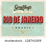 Vintage Touristic Greeting Card - Rio de Janeiro, Brazil - Vector EPS10. Grunge effects can be easily removed for a brand new, clean sign. - stock vector
