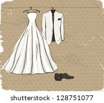 vintage poster with with a... | Shutterstock .eps vector #128751077