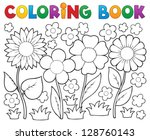 coloring book with flower theme ... | Shutterstock .eps vector #128760143