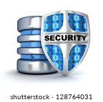 Shield and database (done in 3d) - stock photo