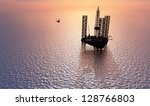 Petrochemical tower on the background of the sea. - stock photo