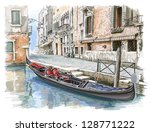 Venice - Calle Fondamenta Megio. Ancient building & gondola. Bitmap copy my vector - stock photo