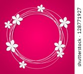 floral round frame with place... | Shutterstock .eps vector #128771927