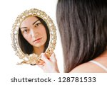 beautiful brunette with mirror on white - stock photo