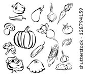 vegetables icon set sketch vector illustration - stock vector