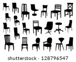 set of chair silhouettes | Shutterstock .eps vector #128796547