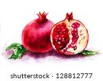 ripe pomegranate fruit ... | Shutterstock . vector #128812777