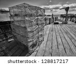 Stacked Lobster Traps On Dock...