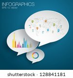 Detail infographic vector illustration. Infographics with map of world on a paper bubble speech on a blackboard. Easy to edit - stock vector