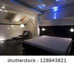 Modern bedroom with led lighting decoration - stock photo