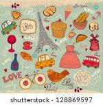 vector set of paris symbols | Shutterstock .eps vector #128869597