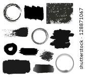 black stains   set   isolated... | Shutterstock .eps vector #128871067