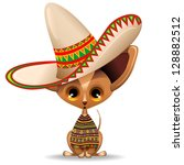 Mexico Chihuahua Puppy Dog Cartoon with big Sombrero - stock photo