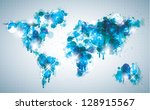 painterly world map done in a... | Shutterstock .eps vector #128915567