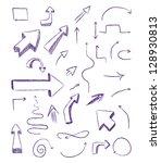 doodle arrows as design elements | Shutterstock .eps vector #128930813