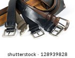 Mens belts isolated on white background. - stock photo