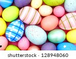 Easter background of colorful painted eggs - stock photo
