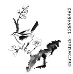 Chinese painting , plum blossom and bird, on white background. - stock photo
