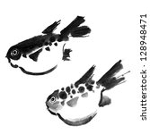 Chinese painting of swellfish on white background. - stock photo