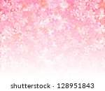 spring pink cherry blossoms... | Shutterstock .eps vector #128951843