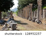 Harbor Street  in the ancient Greek city Ephesus - stock photo