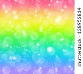Rainbow holiday background with bokeh lights - stock photo