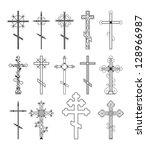religious cross design... | Shutterstock . vector #128966987