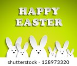 Vector - Happy Easter Rabbit Bunny on Green Background - stock vector