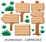 wooden signboard theme image 2  ... | Shutterstock .eps vector #128981063