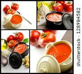 Photo collage of tomato soup in a casserole - stock photo