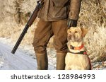 hunter with dog   Shutterstock . vector #128984993