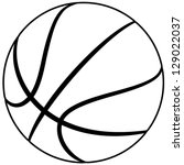 illustration of a basketball outline isolated in white background.