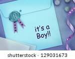baby blue envelope with sealing ... | Shutterstock . vector #129031673