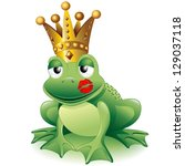 Prince Frog Cartoon Clip Art with Princess Kiss - stock photo