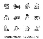 icons in black and white. - stock vector