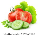 isolated vegetables. fresh cut... | Shutterstock . vector #129065147