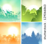 Four Sunrises Above Trees Set