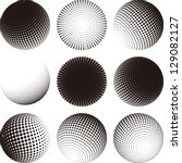 collection of halftone sphere... | Shutterstock .eps vector #129082127