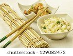 Chinese food dishes, cantonese rice and shrimps noodles - stock photo