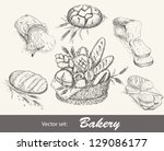 bakery vector set. collection... | Shutterstock .eps vector #129086177