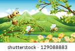 Illustration Of Bees Near The...