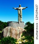 Famous statue of the Christ the Redeemer, in Rio de Janeiro, Brazil - stock photo