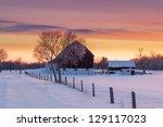 Farm House And Barn On Early...