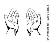 Praying Hands drawing vector illustration realistic sketch - stock vector