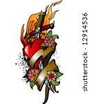 heart  fire and flowers tattoo... | Shutterstock .eps vector #12914536